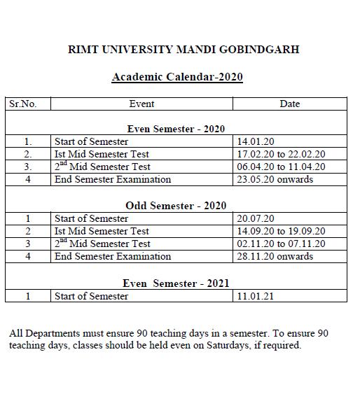 RIMT University Academic Calendar